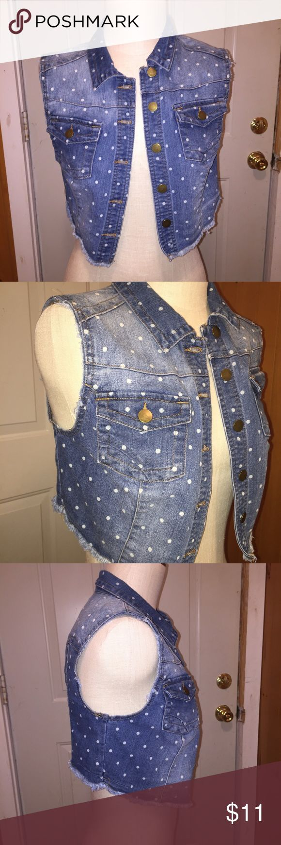 White Polka Dot Jean Vest Worn a few times, but I never liked the Polka dots, so I am selling. Feel free to ask any questions. No flaws. Jackets & Coats Vests