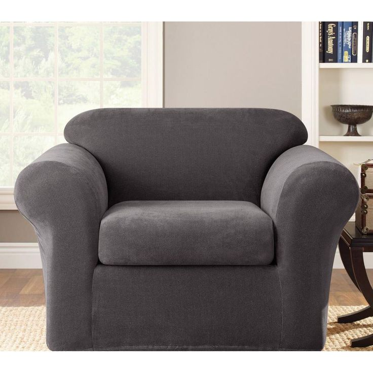 Sure Fit Grey Stretch Metro Chair Slipcover SureFit Chairs For Living RoomChair SlipcoversRed ChairsQvc