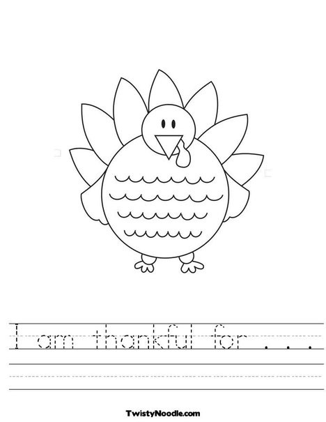 I am thankful for    Worksheet from TwistyNoodle.com