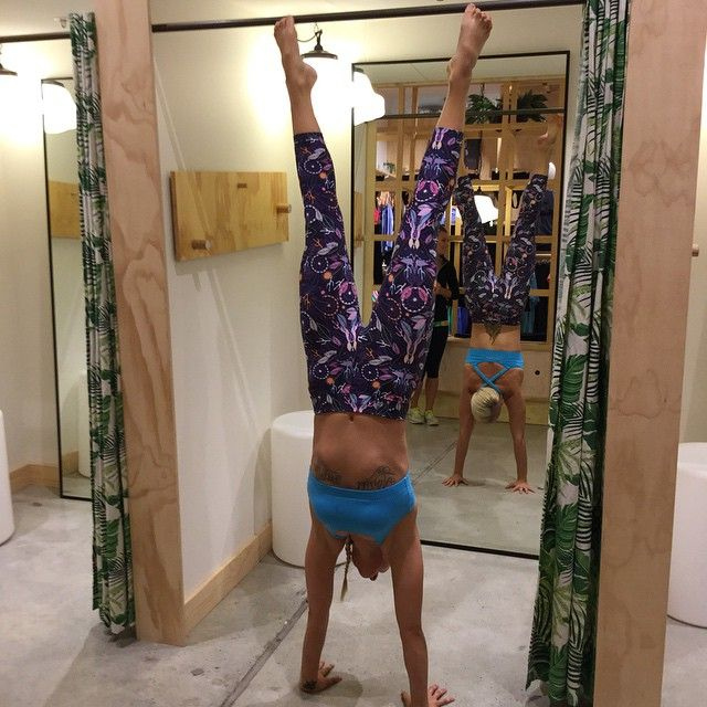 Danique the Yoga Instructor having fun in our abi and joseph store, wearing our new Santa Monica 7/8 Tight