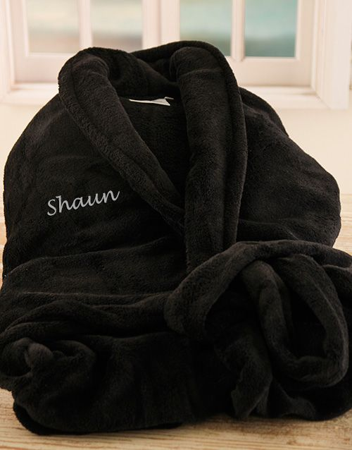 Buy Personalised Black Fleece Gown Online - NetGifts