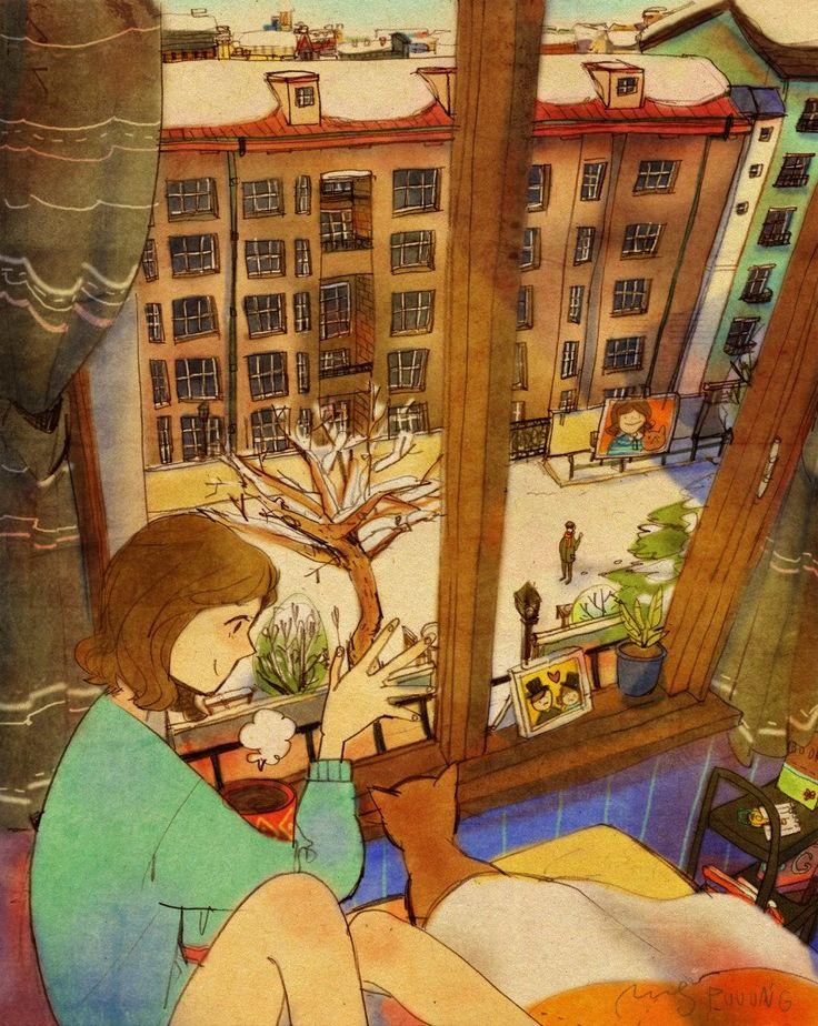 Quando você pensa no amor, qual a primeira imagem que vem em sua cabeça? A foto de um recém-nascido, casamento, ou, quem sabe, um casal de velhinhos fofos comemorando bodas de ouro? Estas são as cenas mais comuns, que vem em mente em um primeiro momento. No entanto, são os pequenos gestos que tornam o amor tão rico e pleno. A artista coreana, Puuung, ilustrou, de maneira muito sutil, estes pequenos gestos, em situações diárias, que mostram bem os detalhes que fazem do amor este sentimento…