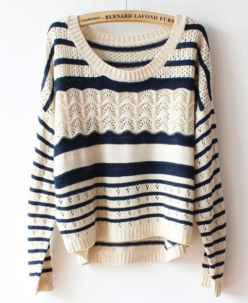 """Patricia Feitor's """"Sweater """" In Light Cream and Navy"""