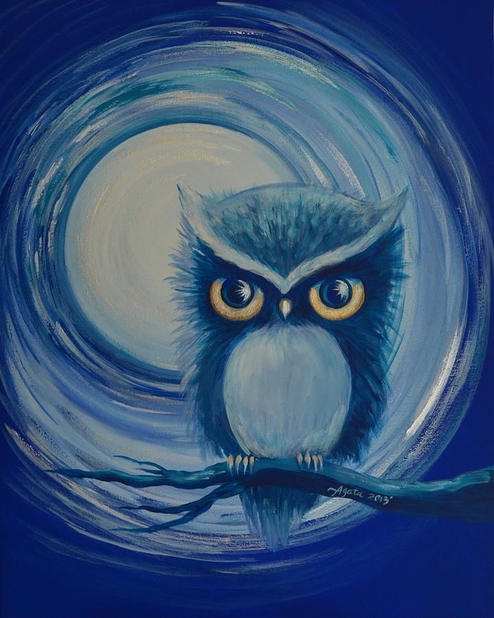 Blue Moon Owl Painting By Agata Lindquist Blue Moon Owl