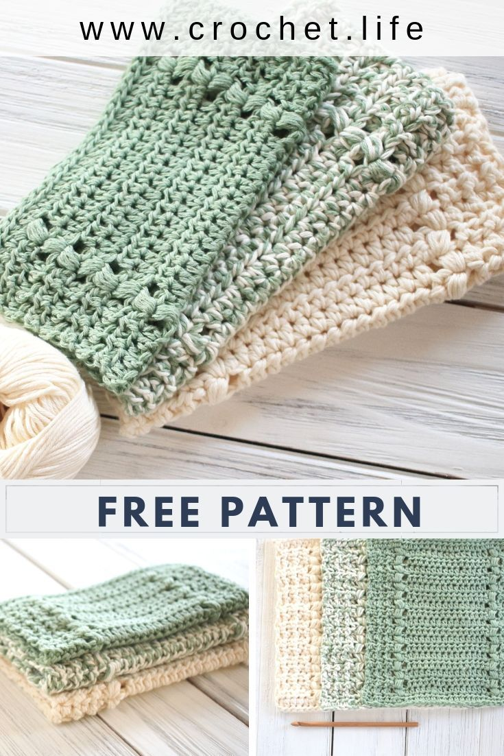 Easy To Crochet Dishcloth And Matching Hand Towel Pattern Free At Www Crochet Crochet Dish Cloth Free Pattern Dishcloth Crochet Pattern Crochet Dishcloth Gift
