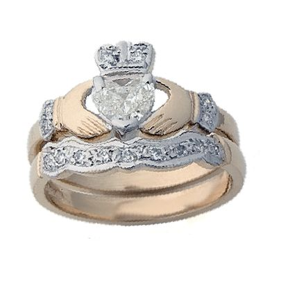 yellow gold diamond claddagh engagement and wedding ring set - Claddagh Wedding Ring Sets