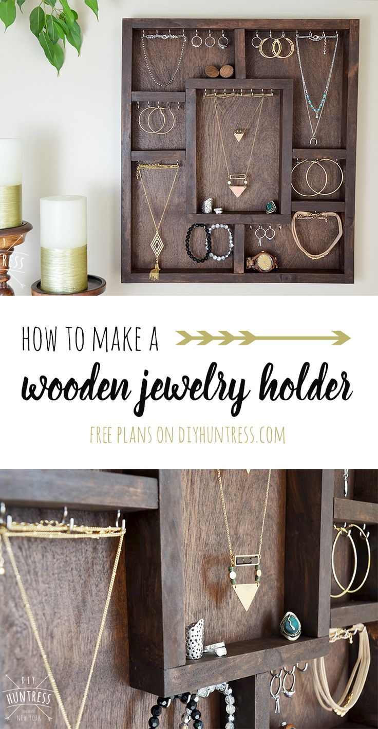 Learn how to build a wooden jewelry holder! #diy #woodworking
