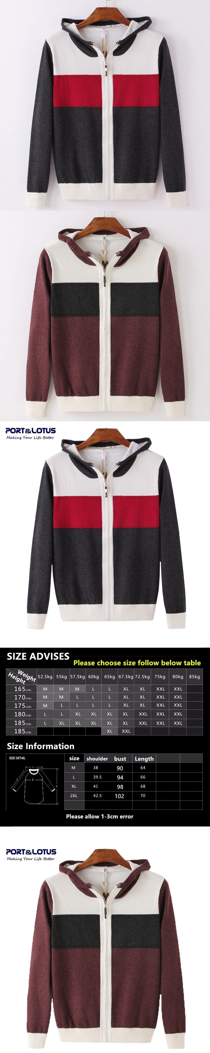 PORT&LOTUS Men's Knitted Sweaters Contrast With Hat Brand Clothing Pullover Sweater Male Cardigans Warm Men's Sweaters LSQF130