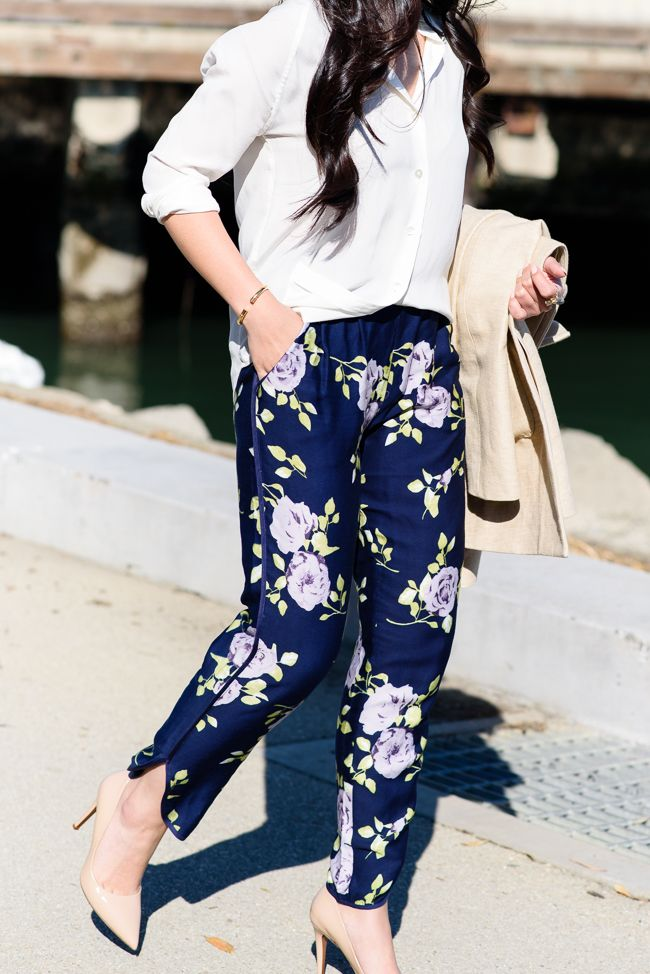 Printed pants are a fun alternative to dresses and skirt. Opt for a neutral color that can be worn from season to season.