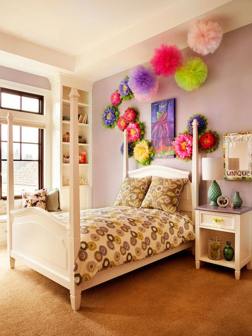 Gorgeous-transitional-kids-bedroom-with-colorful-flower-wall-decor--and-white-shade-table-lamp-next-to-compact-bed-mix-to-light-purple-wall-and-brown-rug-in-stylish-tween-girl-bedroom-ideas – Primadr ☺ ☺