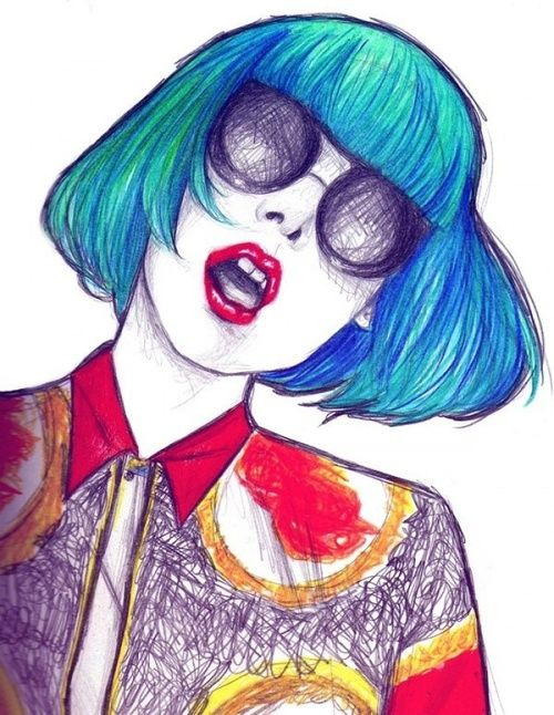 Ive selected this biro drawing because I really like the use of bright colours within it. The artist has also used lots of different types of marks within the drawing to create the look f different textures, e.g. the curved lines which form the blue hair in contrast to the scribbled lines which make up the background of the shirt.