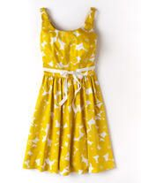 Yellow Mono Floral Marilyn Dress