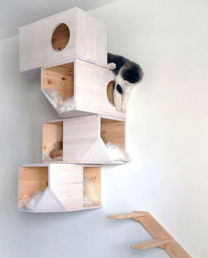From Home Tree Atlas, this mod cat tower doubles as art on your walls and a fun, space for your kitty to play.