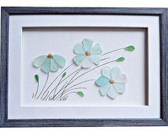 Sea glass art Genuine beach glass flowers New by PebbleArtDream