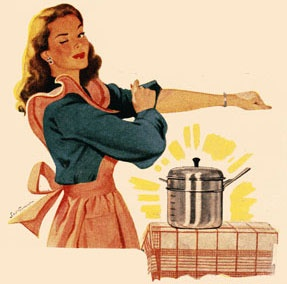 Rollin' up my sleeves to make a great family dinner! ~ ca. 1940s housewife.