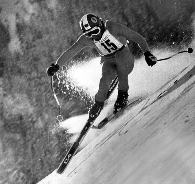 Ski racer Franz Klammer won a gold medal at the 1976 Winter Olympics in Innsbruck//Franz Klammer Innsbruck 1976//File:Fischer Sports franz-klammer 1976.