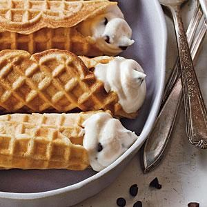 Cannoli on a gluten-free diet are practically unheard of. This version, made with gluten-free pizzelles, can be enjoyed by everyone. Add additional chocolate minichips on the ends for garnish, if you like.