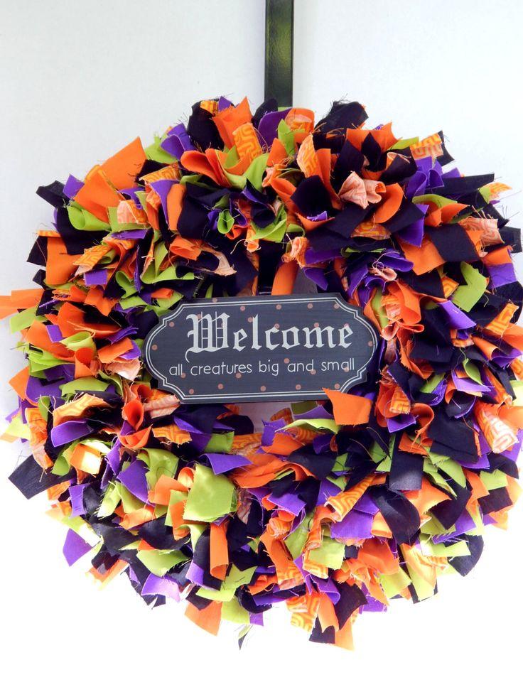 Halloween Fabric Wreath - Halloween Decor - Fall Wreath - Halloween Door Wreath - Halloween Rag Wreath - Welcome Wreath - Halloween Decor by MakingLifeMemorable on Etsy https://www.etsy.com/listing/250667302/halloween-fabric-wreath-halloween-decor