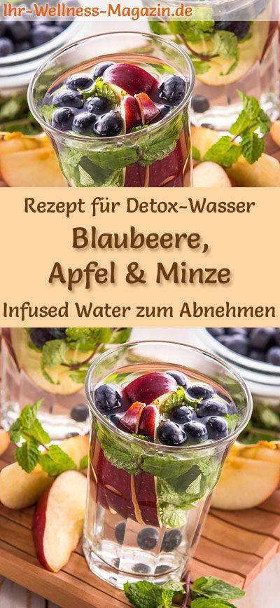 Blaubeer-Apfel-Minze-Wasser – Rezept für Infused Water – Detox-Wasser #RezeptemitWenigKalorien
