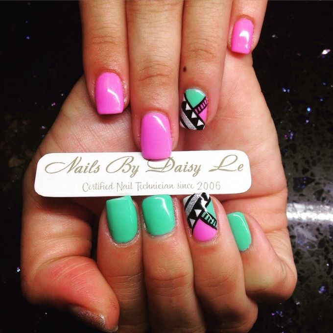 Did these cool retro 80's themed nails for my client yesterday. Hope you guys like!