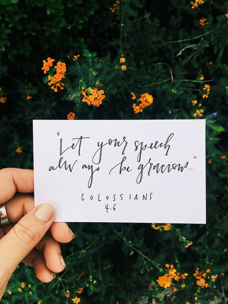 """Let your speech always be gracious..."""
