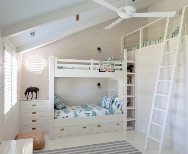 Dazzling Bunk Beds With Stairs technique New York Beach Style Kids Innovative Designs with beach house Bedroom bunk beds cabinets ceiling fan circular window custom millwork desk Hamptons