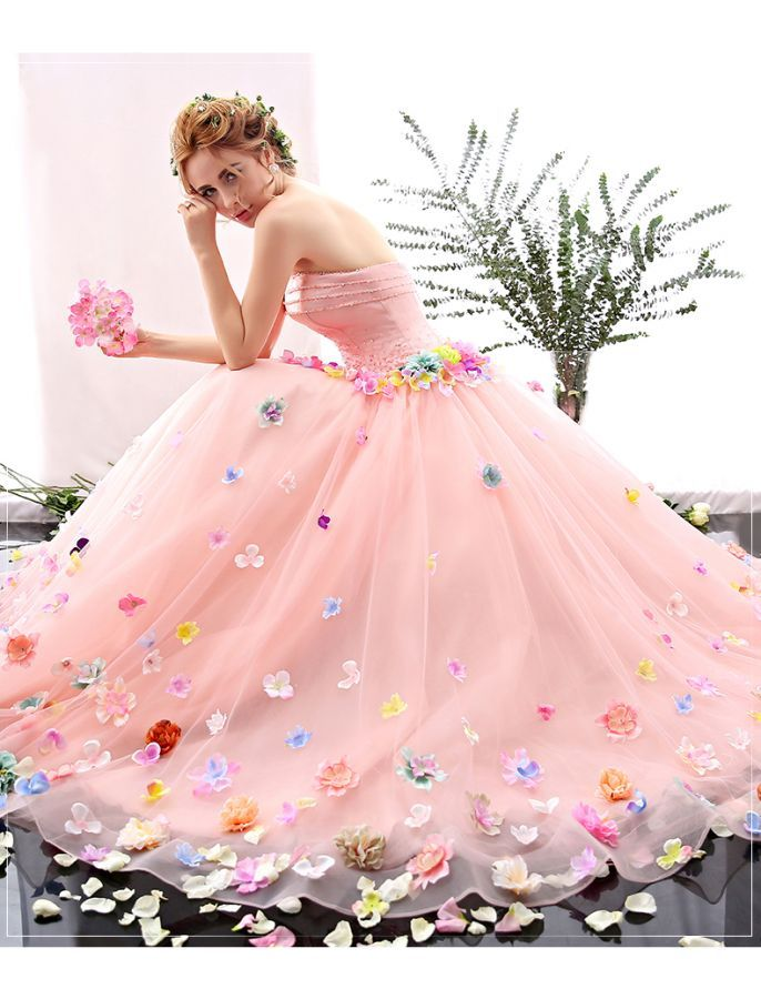Romantic Strapless Floral Retro Prom Dress Dresses