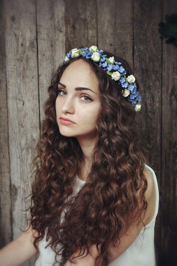 Flowers crown. Hair wreath. Polymer clay flowers. by FloraAkkerman, $80.00