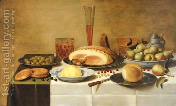 Floris Gerritsz. van Schooten:Mulberries, a ham and a bun on pewter plates, butter and pears on porcelain dishes with a beerglass, a flute and a knife on a draped table