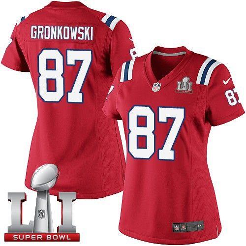 ... NFL Elite Jersey Womens Nike New England Patriots 87 Rob Gronkowski  Elite Red Alternate Super Bowl LI 51 . f8a3c7bae