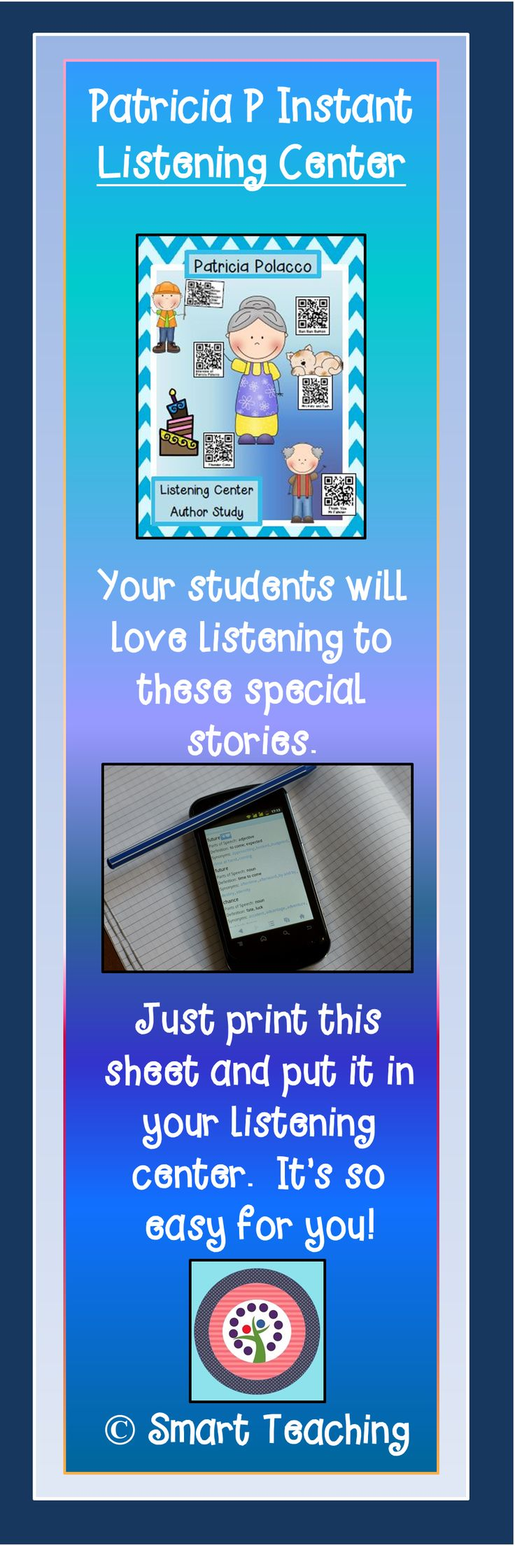 This instant listening center is so easy to use!  Your students will love scanning the QR codes and listening to new favorite stories written by Patricia Polacco.  $