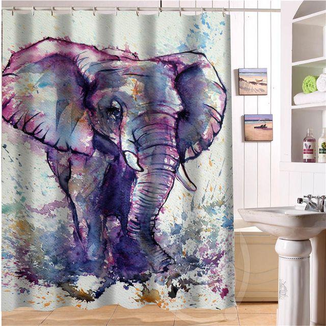 Zarif ve sevimli fil Retro Karikatür Özel Duş Perdesi Kumaş Banyo Perdesi Su Geçirmez DAHA BOYUTU SQ0515