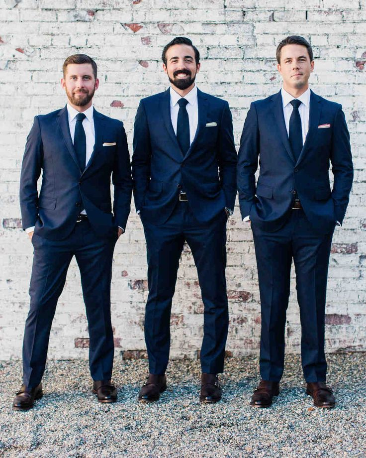 A Charmingly Bespoke Fall Wedding in New Jersey | Martha Stewart Weddings - Greg's groomsmen were his good friend Tim (left, who introduced the couple and noted that he'd been friends with Greg 83% of their lives in his best man speech) and Sarah's brother Taylor. All three wore Seize Sur Vingt suits, ties from Drake's, and Allen Edmonds for Club Monaco shoes.