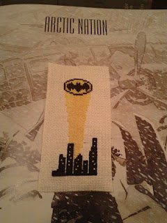 batman cross stitch bookmark