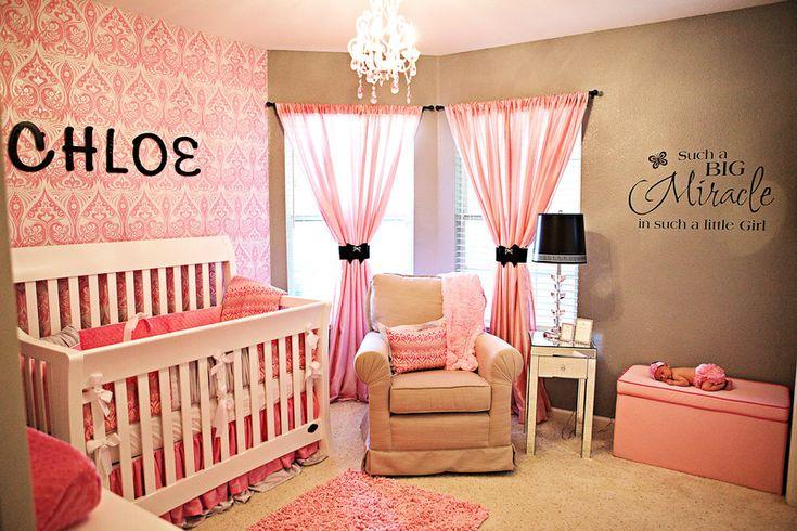 girl nurseryIdeas, Curtains, Little Girls Room, Girl Nurseries, Baby Girls Room, Colors Schemes, Baby Room, Girls Nurseries, Accent Wall