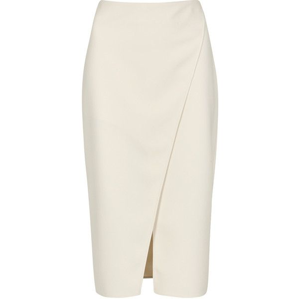 Acne Studios Pau cream wrap-effect pencil skirt ($325) ❤ liked on Polyvore featuring skirts, bottoms, saia, cream pencil skirts, wrap pencil skirt, acne studios, knee length pencil skirt and wraparound skirt