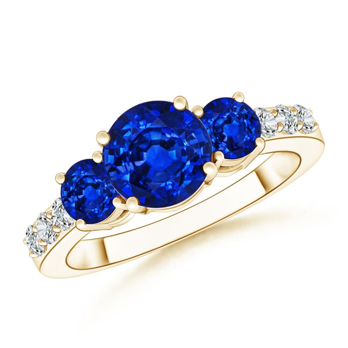 Angara Four-Prong Sapphire and Diamond Three Stone Ring in 14k Yellow Gold Y0cKNN