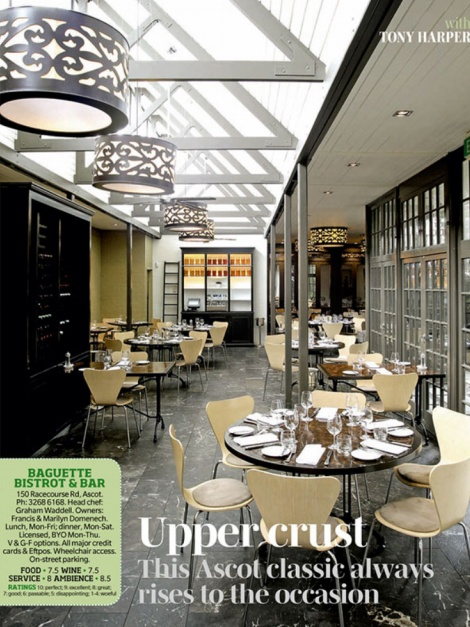 Baguette Bistro Ascot.  Heading here tonight and I cannot wait.  Though it's meals are pricey, the food on their menu sounds amazing. Looking forward to trying the duck I think!