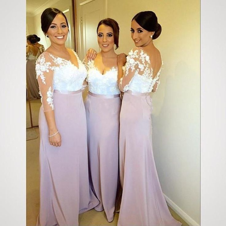 African bridesmaid dresses 2016 v neck white lace for White and lilac wedding dress