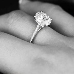 New 2.05 Ct Oval Cut Diamond Engagement Ring U-Setting G, SI2 GIA Platinum
