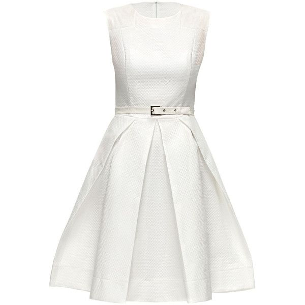 LATTORI Smart White Dress found on Polyvore featuring dresses, lattori, snake print dress, waist belt, white day dress, textured dress and python print dress