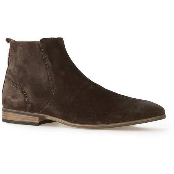 TOPMAN Brown Suede Zip Boots (178.595 COP) ❤ liked on Polyvore featuring men's fashion, men's shoes, men's boots, brown, mens zipper shoes, mens brown boots, mens suede boots, mens side zip boots and mens brown shoes