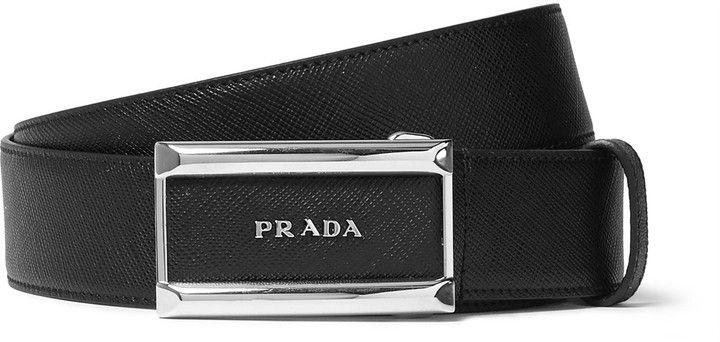 Prada 3.5cm Black Saffiano Leather Belt