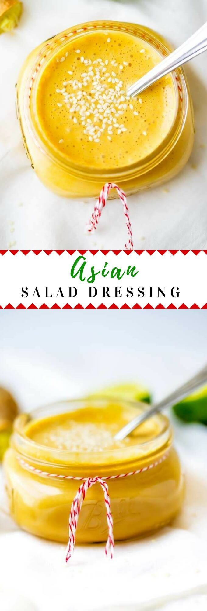 This homemade Asian Salad Dressing Recipe is easy to make and healthy!  With rice vinegar and ginger, this no sugar recipe is a simple dressing that packs a lot of flavor. via @wendypolisi #healthyfood  #saladdressing #healthy