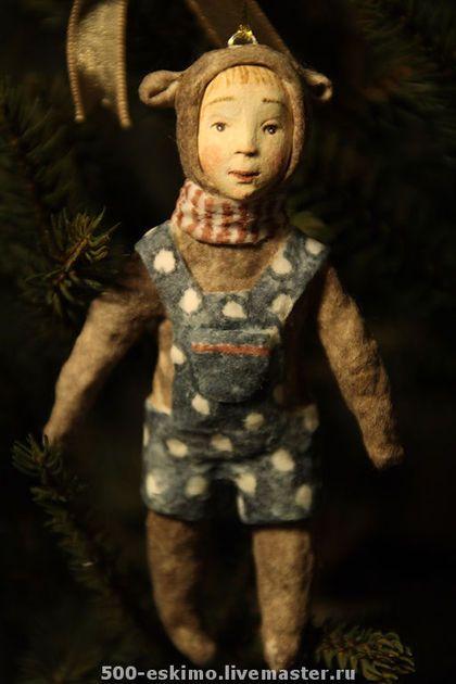 Новый год 2014 ручной работы. Ярмарка Мастеров - ручная работа Медведь игрушка из ваты на ёлку. Handmade.