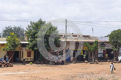 Buildings and children in one of the Village in Kenya. Africa.