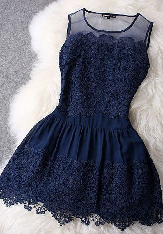 Navy Blue Patchwork Grenadine Embroidery Lace Dress - Mini Dresses - Dresses
