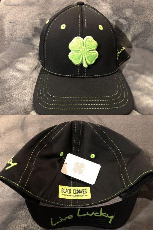 Golf Visors and Hats 158937  New Black Clover Premium Clover Cap Black  Green Large X 887e3f50dfa8