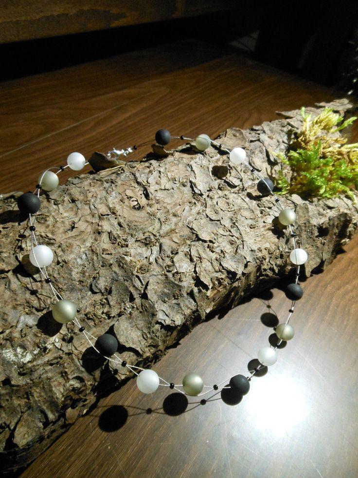 Neu unikat schwarz grau weiss weiß Polariskette Halskette Polaris perlen kette in Uhren & Schmuck, Modeschmuck, Halsketten & Anhänger   eBay