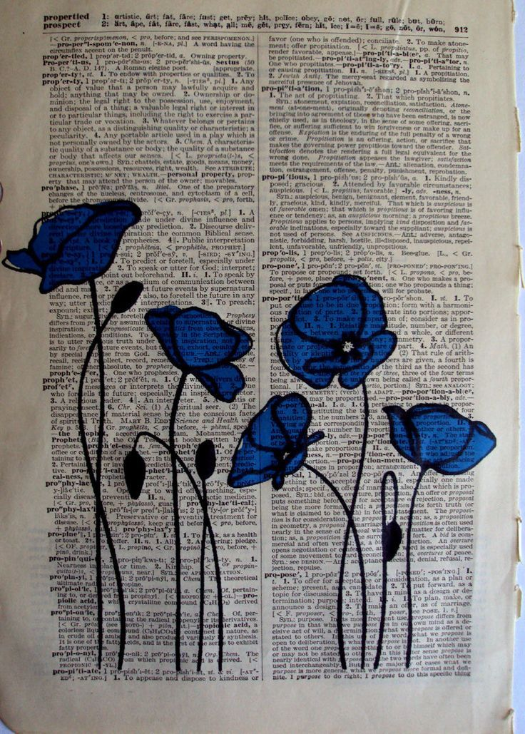 Blaue Mohnblumen Auf Stoff Nahen Freie Bewegung In 2020 Book Page Art Book Art Flower Drawing